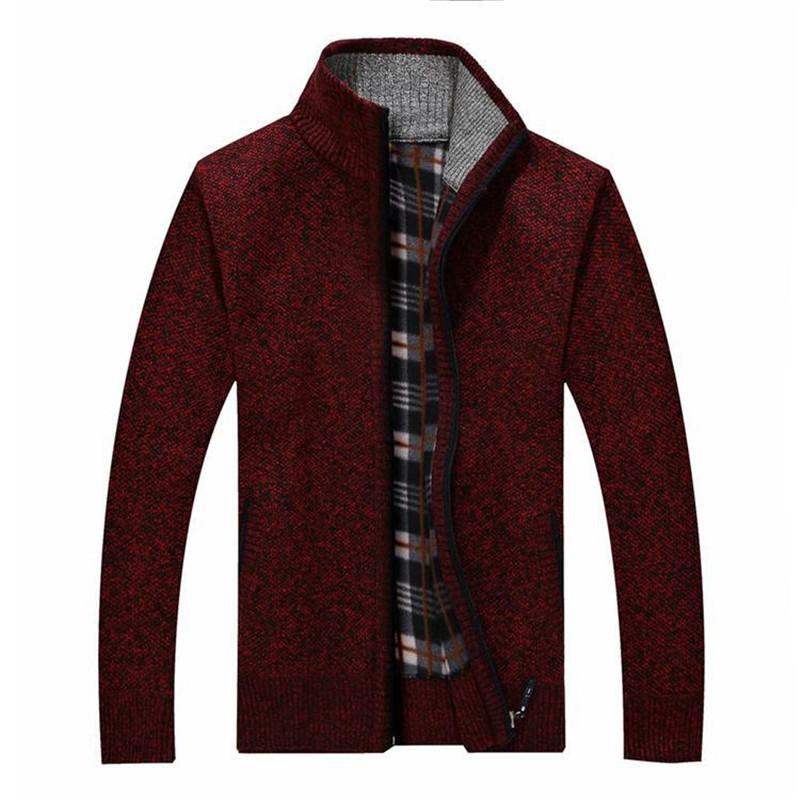 2017 autumn and winter new wool coat Men 's casual cashmere cardigan jacket Fashion collar collar men thick sweater