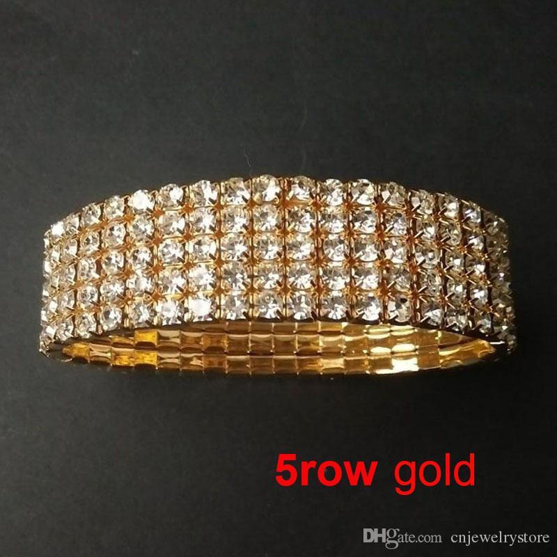 1-10 Rows Gold Bracelets Crystal Rhinestone Elastic Bridal Bangle Bracelet Stretch Wholesale Wedding Accessories for Women