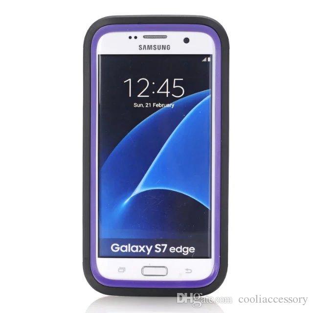 إلى Samsung Galaxy S7 Edge Hybrid Armor Hard PC سيليكون Case Robot 3 في 1 Camo صدمات وعرة تأثير مع الغبار التوصيل الجلد غطاء ملون