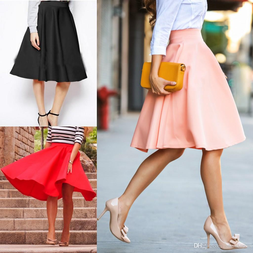 f0acda3572a 2019 Formal Summer Work Skirts 2017 A Line Knee Length Satin Women Dresses  Red Pink Black Lady Office Skirt FS3007 From One Stopos