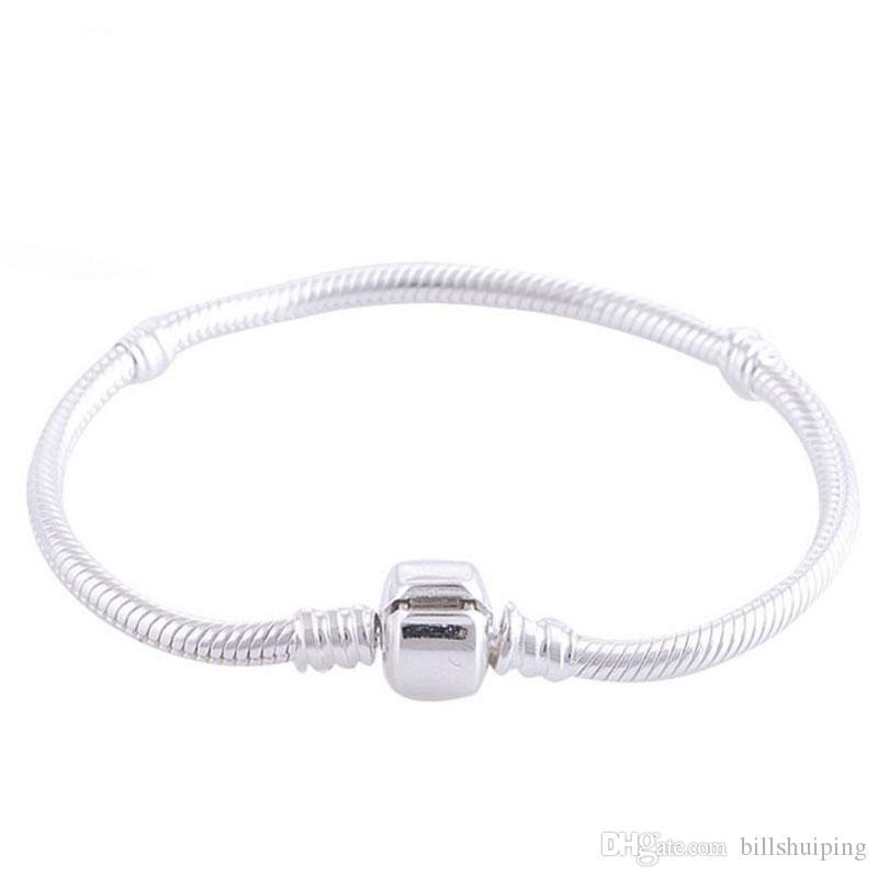 16-23cm Silber Weißgold überzogenes Armband passen Frauen für Pandola Schlangenkette Basic-Armband-Armbänder Charme-Korn-DIY Schmuck