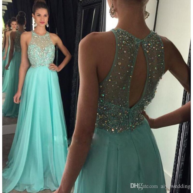 075fcda285 Compre Larga Gasa Azul Con Cuentas Vestidos De Baile Una Línea De Vestidos  De Noche De Cristales 2019 Vestidos Formales Vestidos De Graduación Para ...