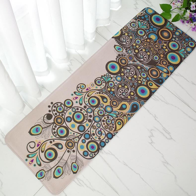 Vintage Peacock Doormat Anti Slip Coral Floor Door Mat Long Carpet