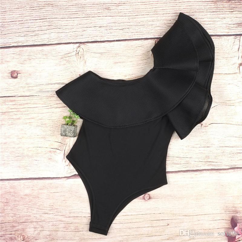 Women Bodysuit Sexy Ruffle Rompers Black/White Vintage One shoulder Bodycon Jumpsuit Combinaison Femme Party Women Clothes