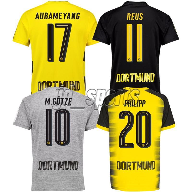 98e3e55824 Compre 2017 18 Borussia Dortmund Jersey Aubameyang Reus Götze Pulisic  Futbol Camisa Futebol Futebol Camiseta Camisa Kit Maillot De Jd sports