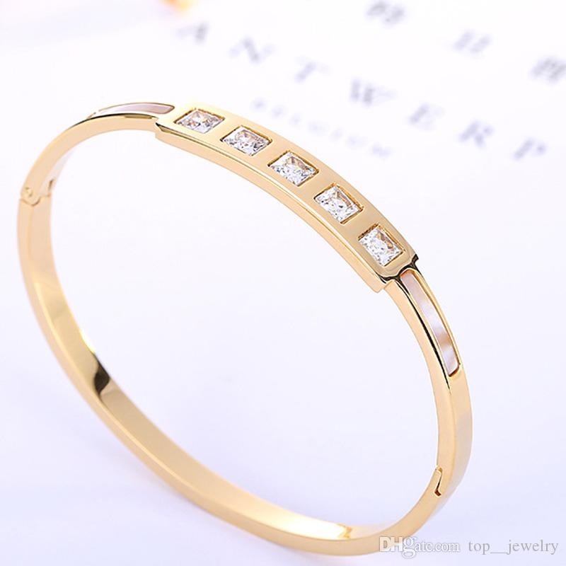 горячие продажи 2017 новый Титана стальной браслет однорядные площади браслет розовое золото мода браслеты для женщин