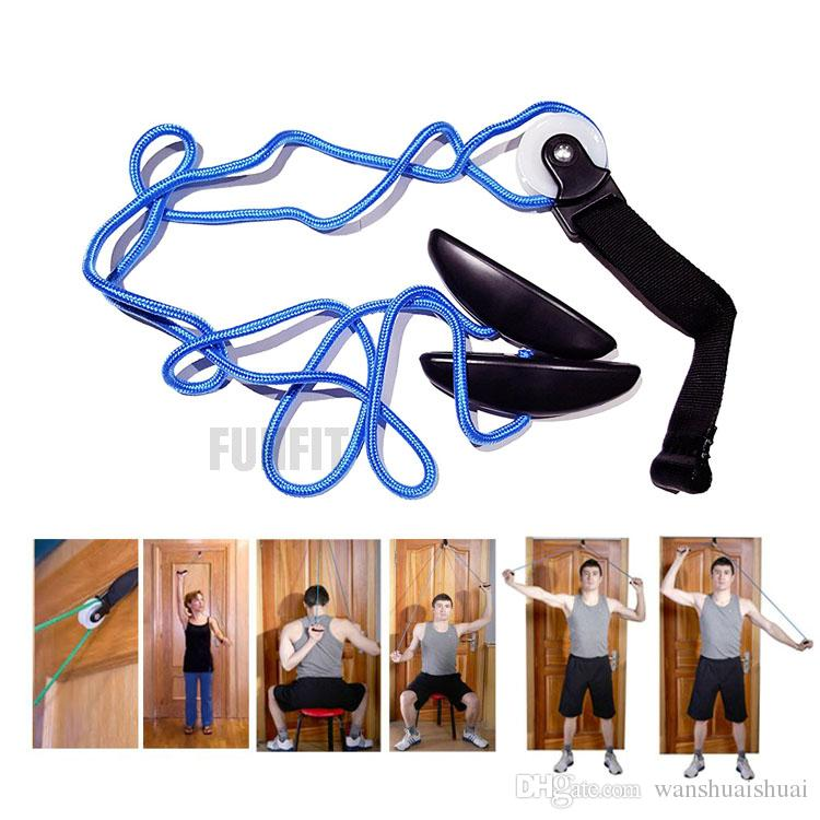 Over Door Home Gym Exercise Shoulder Pulley Stretch 2m Resistance Band  Muscle Training Physical Therapy System Joint Rehab Fitness Kit Shoulder  Pulley ...