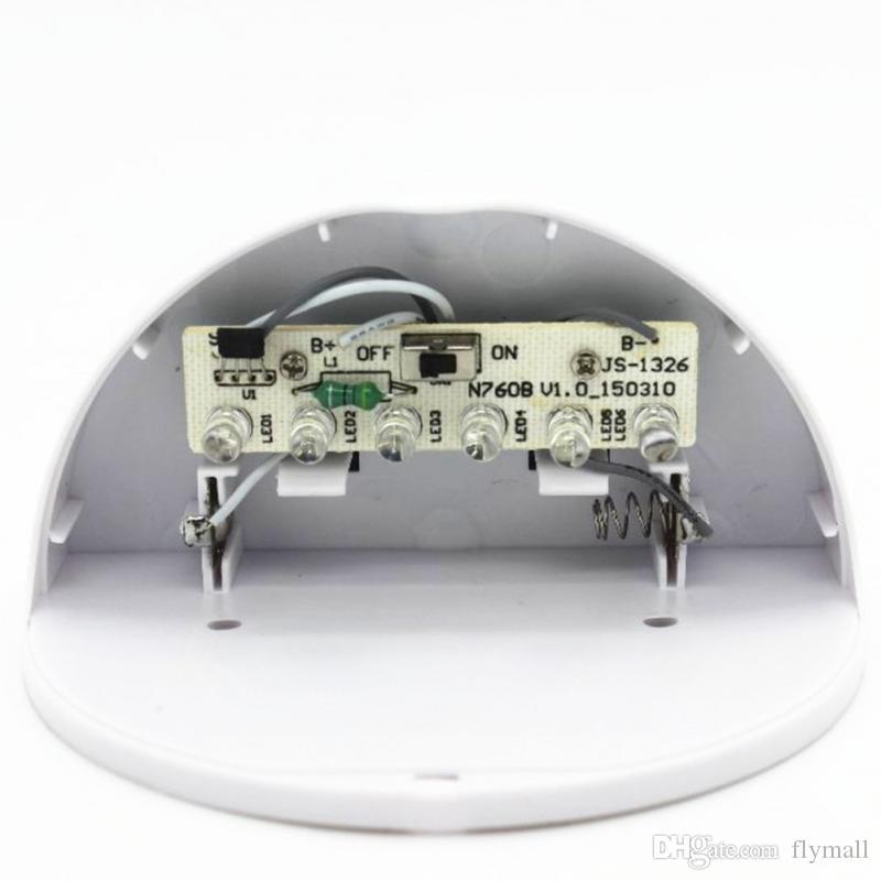 6 LED Capteur Solaire Alimenté Lumière Extérieure Lampe LED Mur Lumière Jardin Lampe ABS + PC Couverture Couleur Paquet Escalier Imperméable À La Maison
