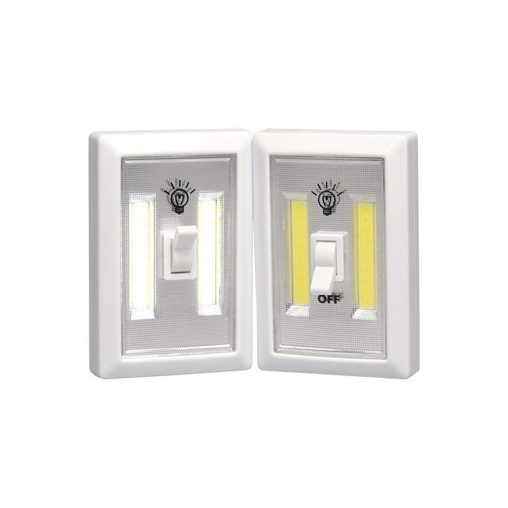 Battery Operated LED Night Light COB LED Cordless Light Switch Under Cabinet Shelf Closet Nightlight Kitchen RV & Boat LED Wall Switch Light