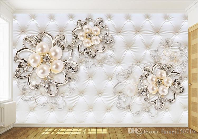 Gran 3D europeo perla y rosa joyería fondo de pantalla de TV Fondo de pantalla de la sala de estar Mural sin costura completa