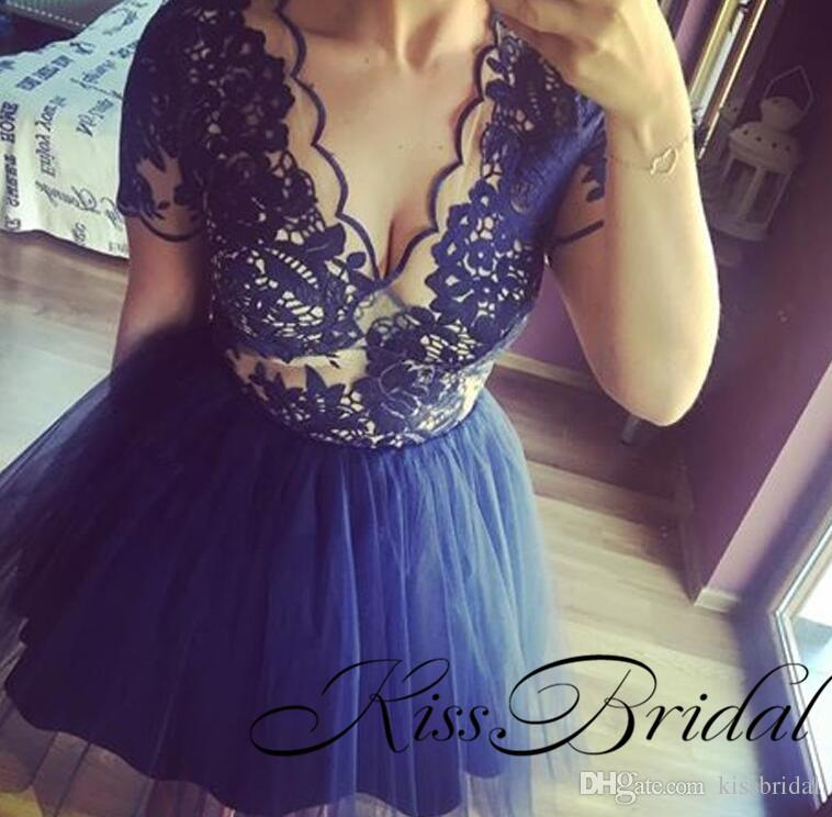 Lace Homecoming Dresses Lace Short Sleeves Navy Party Gowns Sexy Illusion V Neck TuTu Skirt Mini Ball Gowns