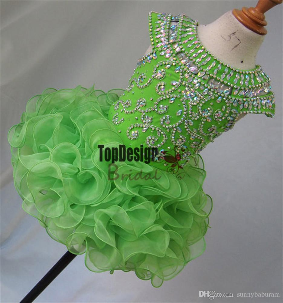 Wholesale New 2017 National Girls Glitz Beaded Crystal Pageant Cupcake Dresses Infant Mini Skirts Toddler Tutu Girl Pageant Party Dress