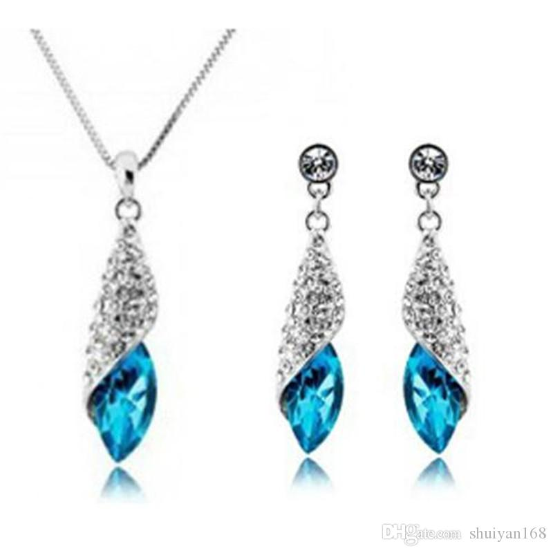 Austria Crystal Full Diamond Pendant Necklace And Earrings Set for Women Jewelry Sets Cheap Xmas Wedding Gift Top Fashion High Quality