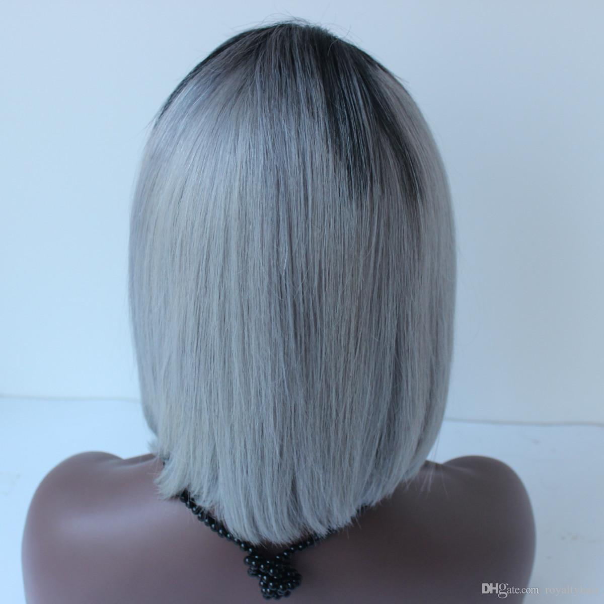 Dark Root Ombre Grey Bob Lace Front Wig Two Tone Color 1B Grey Human Hair Wigs For Women