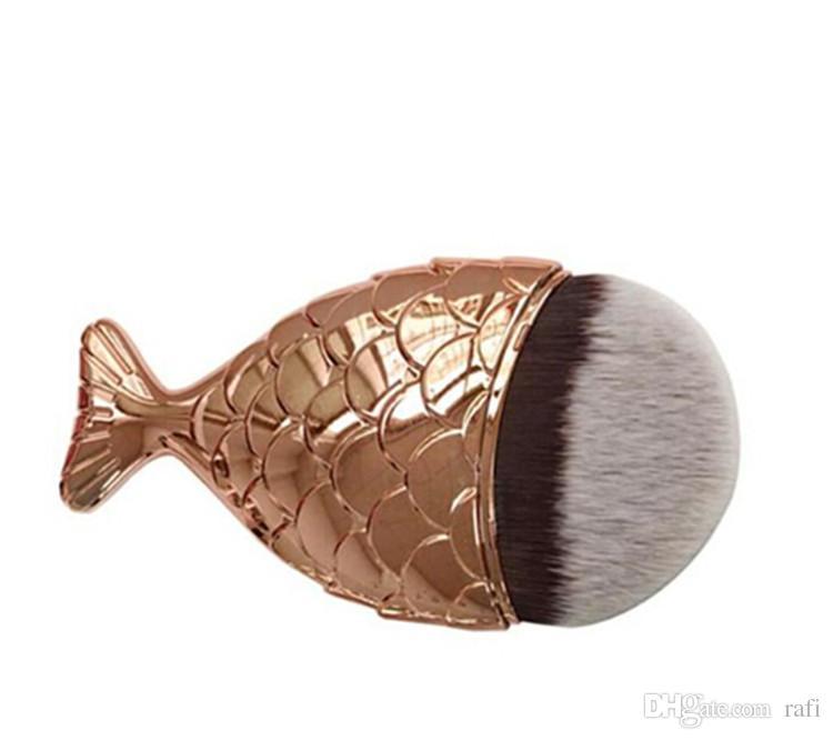 2017 nuevo Descuento Sirena Maquillaje Cepillo Polvo Contour Fish Tail Scales Mermaidsalon Fundación Cepillo es para elegir