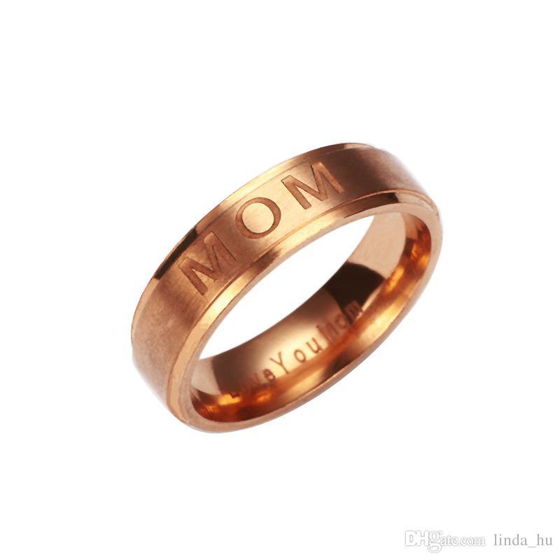2017 estate esplosione modelli lettere mamma anello regalo di giorno della madre titanio acciaio gioielli anello quattro colori opzionale