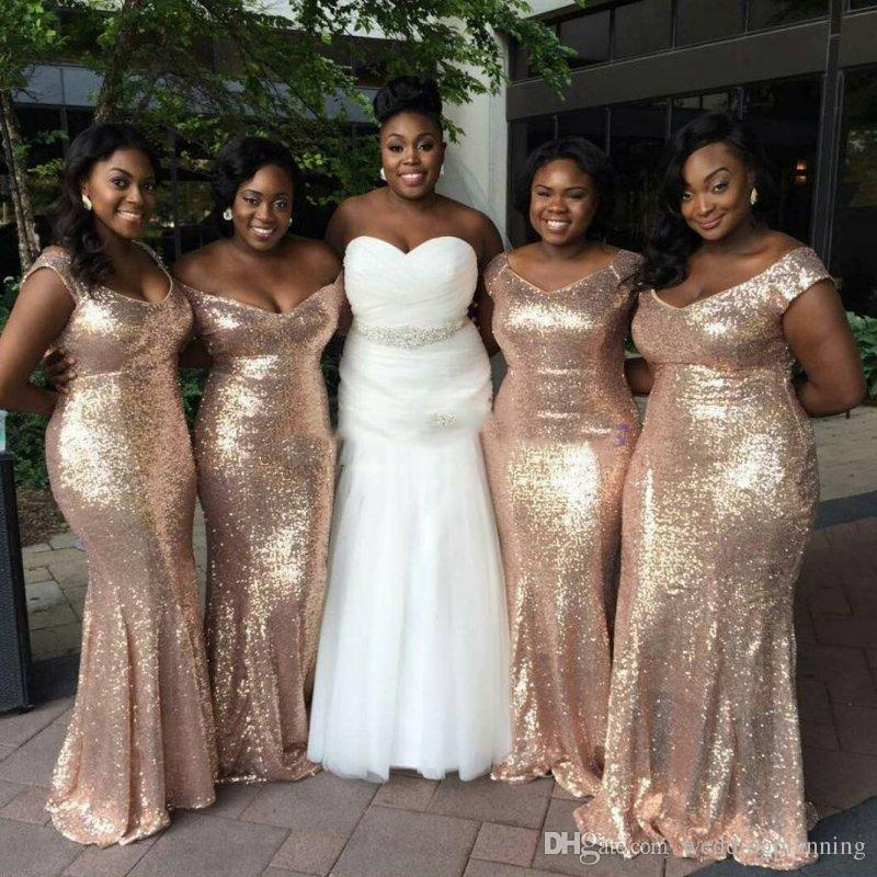Sparkly Rose Gold Cheap 2017 Mermaid Bridesmaid Dresses Off-Shoulder Sequins Backless Plus size Beach Wedding Gown Light Gold Champagne