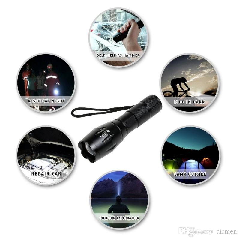 Ultrafire CREE XML T6 2000 Lumens High Power CREE LED Torches Zoomable CREE LED Flashlights Torch Light Powered By 3xAAA or 1x18650 Battery