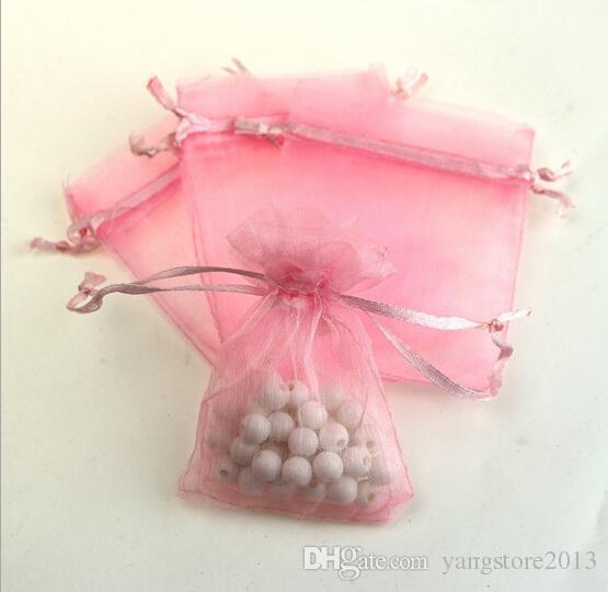 도매 / 7x9cm 레드 수 사용자 정의 로고 작은 크리스마스 Drawstring Organza 보석 결혼식 선물 파우치 가방