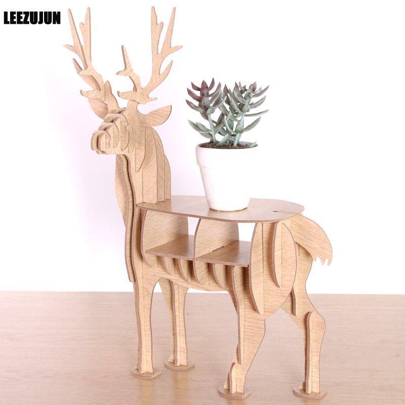 Wooden Elk Shape Decorative Rack Plant Stand Display Shelf Deer Enchanting Wooden Display Stands For Figurines