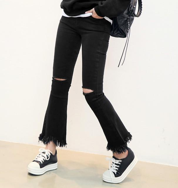High waist jeans schwarz locher