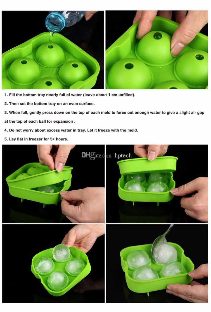 DIY Silicone Ice Cube Maker Tray Sphere Round 4 Large Ice Ball Mold Flexible Freeze Whiskey Party Bar Tools Dia 4.5CM