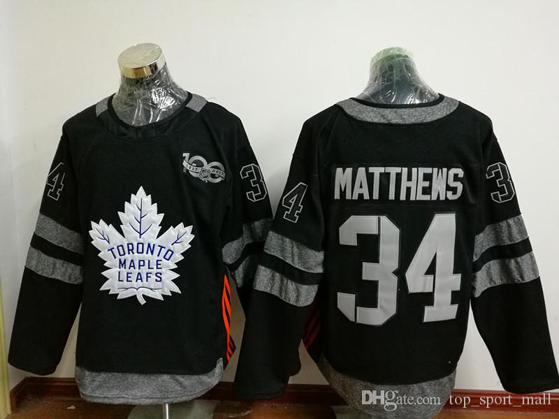 100 ° Toronto Maple Leafs Maglie 2017 Hockey su ghiaccio 34 James Reimer 16 Mitch Marner Uniformi nere Fashion All Stitched Top Quality On Sale