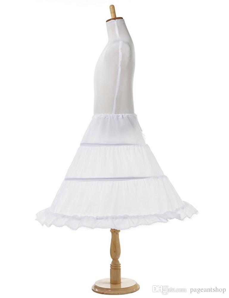 Girls 3 Hoop Flower Kids Pageant Dress Underskirt Child A Line Ball Gowns Petticoat Lace Edge Skirts