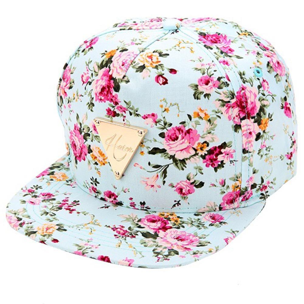 5e7a4967e84 Wholesale NEW Floral Print Baseball Cap Flat Along Flowers Hip Hop Caps  Snapback Wholesale Fashion Women Leisure Metal Flat Brim Bone Cap Hat From  Naixing