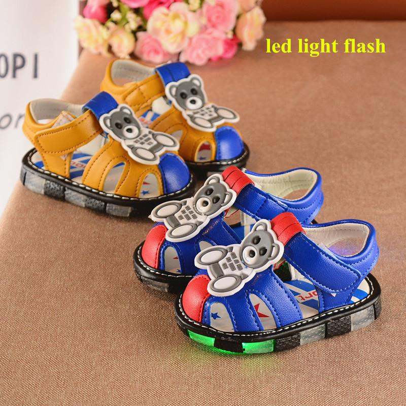 High Quality 2017 New Arrival Cartoon Cute Summer Toddler Shoes Sandals For  Baby Boys Led Lights Flash Toe Caps Blue Yellow 0 4 Sandals Shoes Toddler  Summer ...