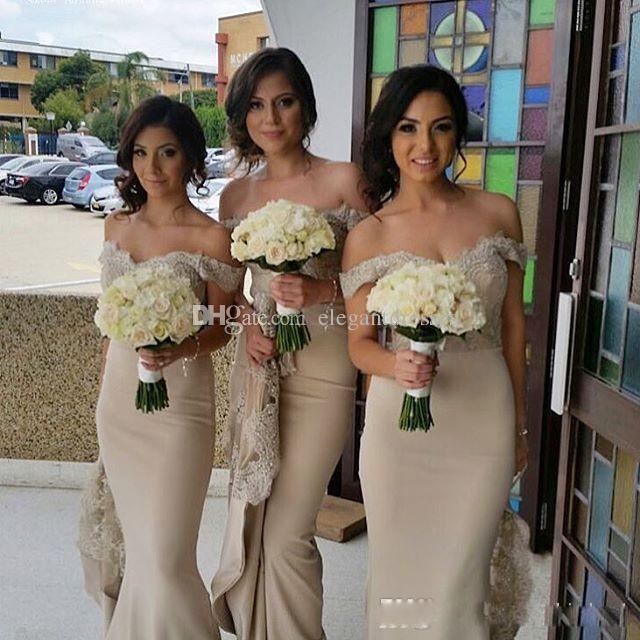 2021 Neue Vintage aus der Schulter Brautjungfernkleider Spitze Appliques Eleganter Meerjungfrau Haupträgchen der Ehrenkleidung Brauchgrad Gäste Gäste tragen