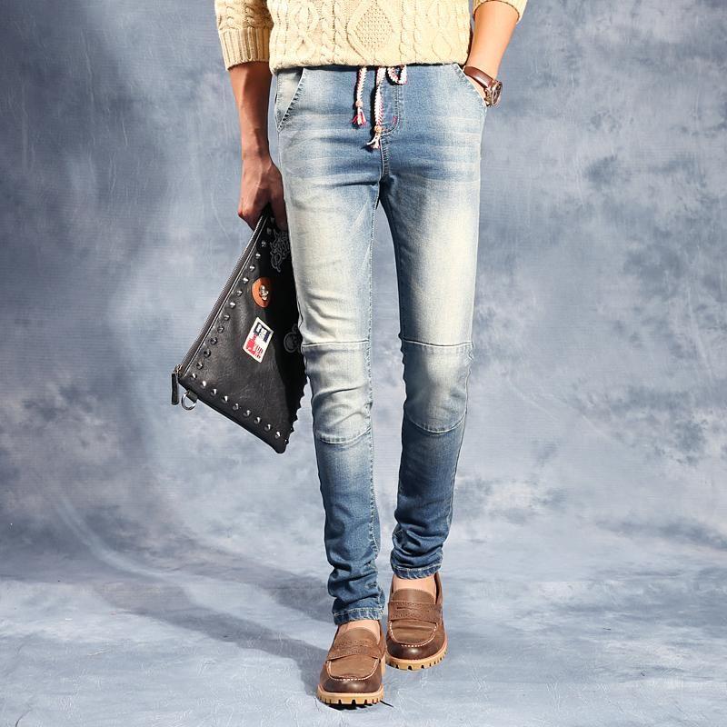Compre Venta Al Por Mayor 2016 Hots Jeans Flaco Men Denim Jeans ...