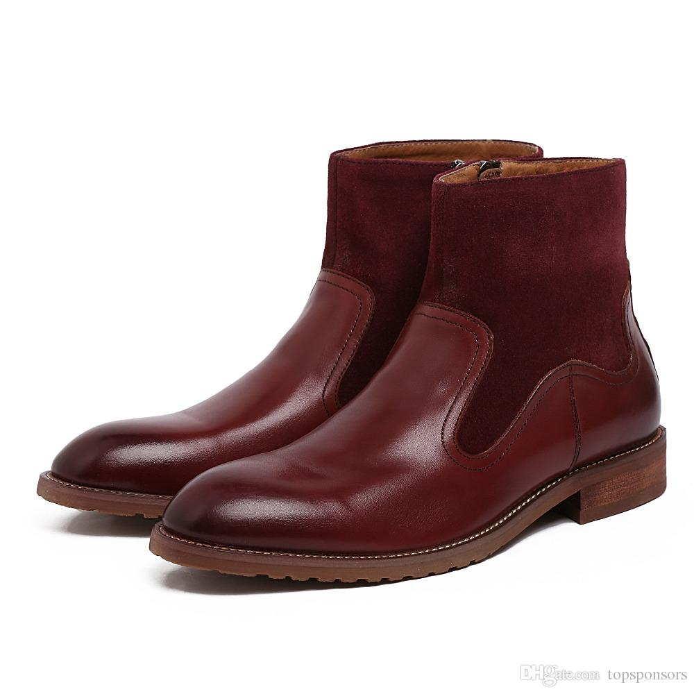 high quality office work. Genuine Leather Boots Men Fashion Patchwork Round Toe Mens High Quality Office Work Autumn Winter Top Wedding Shoes Monkey Cheap Football E
