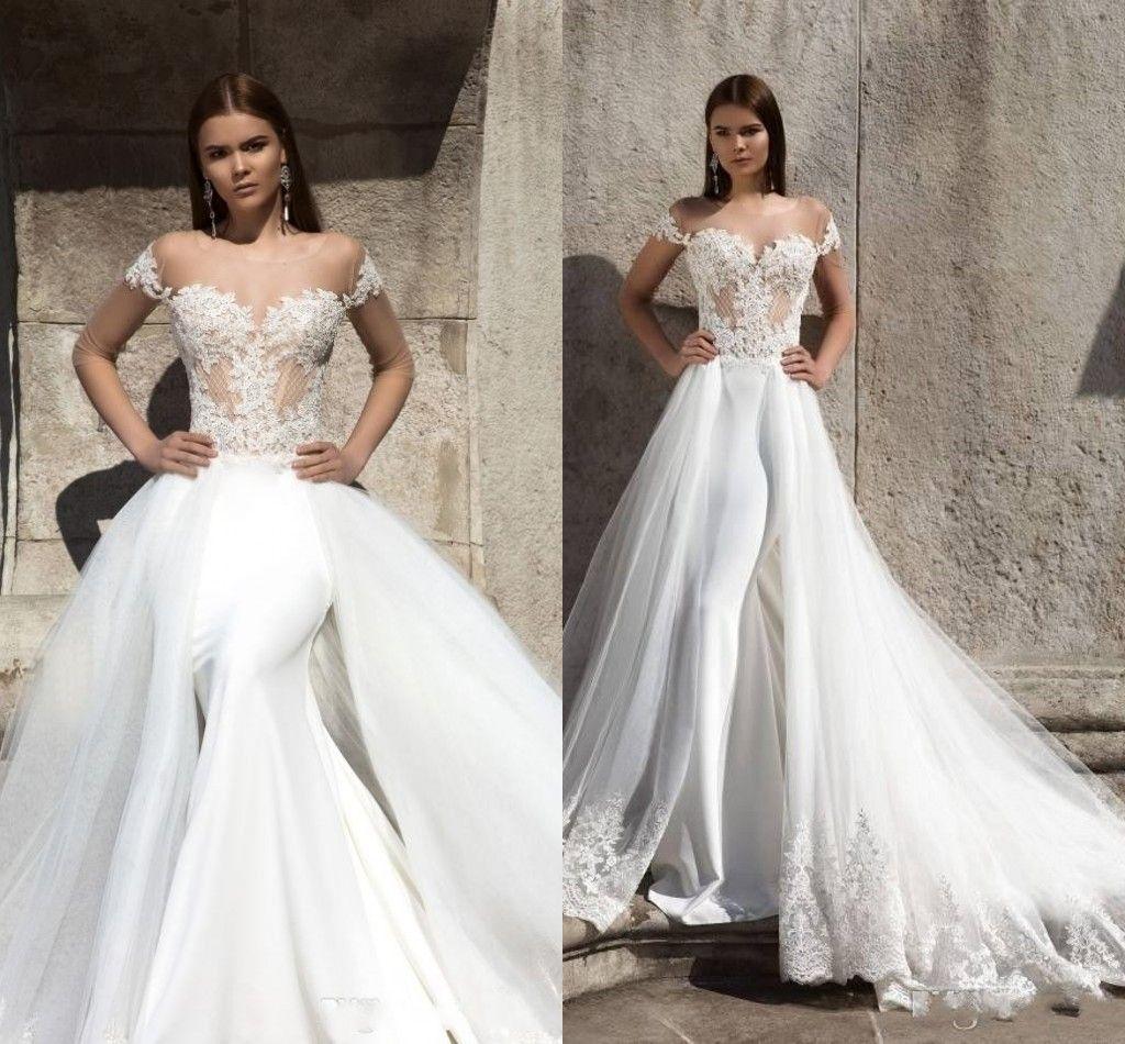 Tulle Overskirt Wedding Dresses Mermaid Bateau Neck Simple