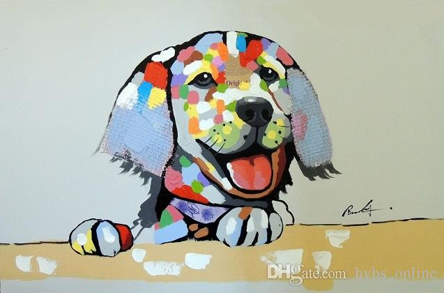 Framed Puppy Dog Happy Modern Pop Art Mixed Media Portrait,Handpainted Modern Abstract Animal Oil Painting On Canvas Wall Multi Sizes Jn075