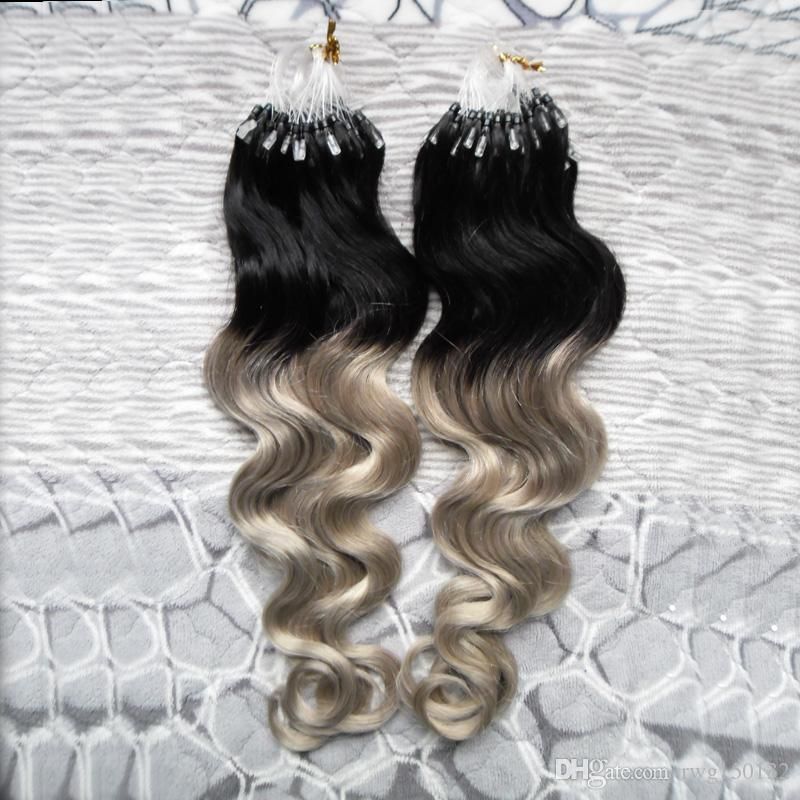 1bsilver ombre gray hair micro bead extensions body wave human see larger image pmusecretfo Gallery