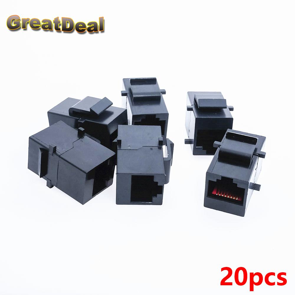 Wholesale 20x Cat5 Cat5e Rj45 Connector Plug Socket Network Wiring Cable Blank Panel Patch Extender Joiner Coupler Adapter Hy445 Computer Extension
