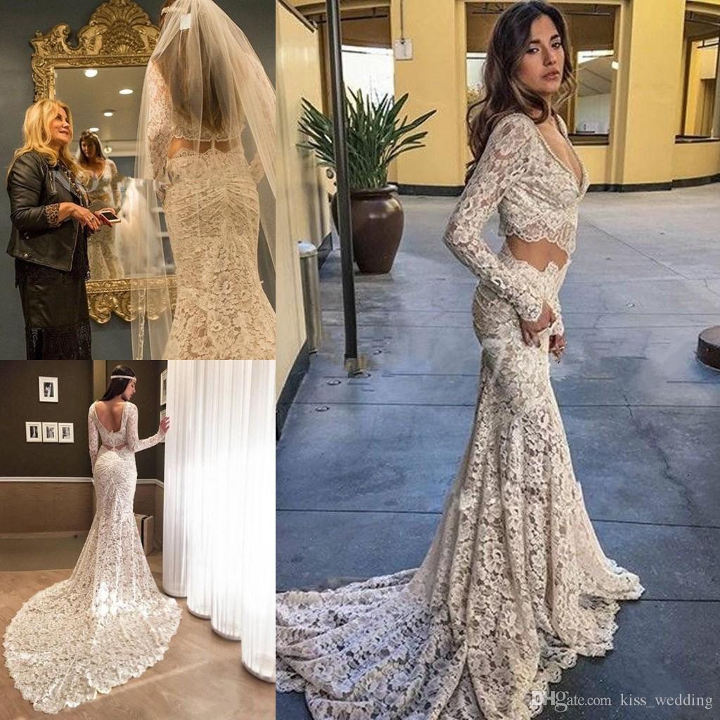 Großhandel Einfache Zwei Stücke Brautkleider Long Sleeves Deep V ...