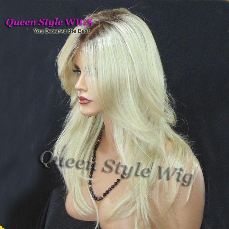 Olhar natural platium loira onda Solta peruca sintética com raízes escuras de alta qualidade preto loira ombre fibra resistente ao calor do cabelo das mulheres perucas