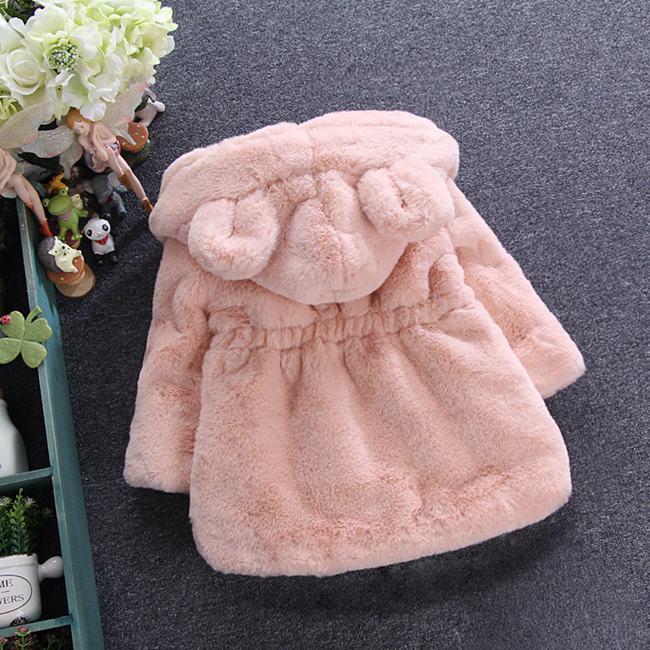 Dzieci Faux Futro Płaszcz Zima Nowe Dziewczynek Cute Ear Hooded Faux Fur Coat Kids Fleece Zagęścić Ciepłe Znosić dzieci Kreskówka Płaszcz A00045
