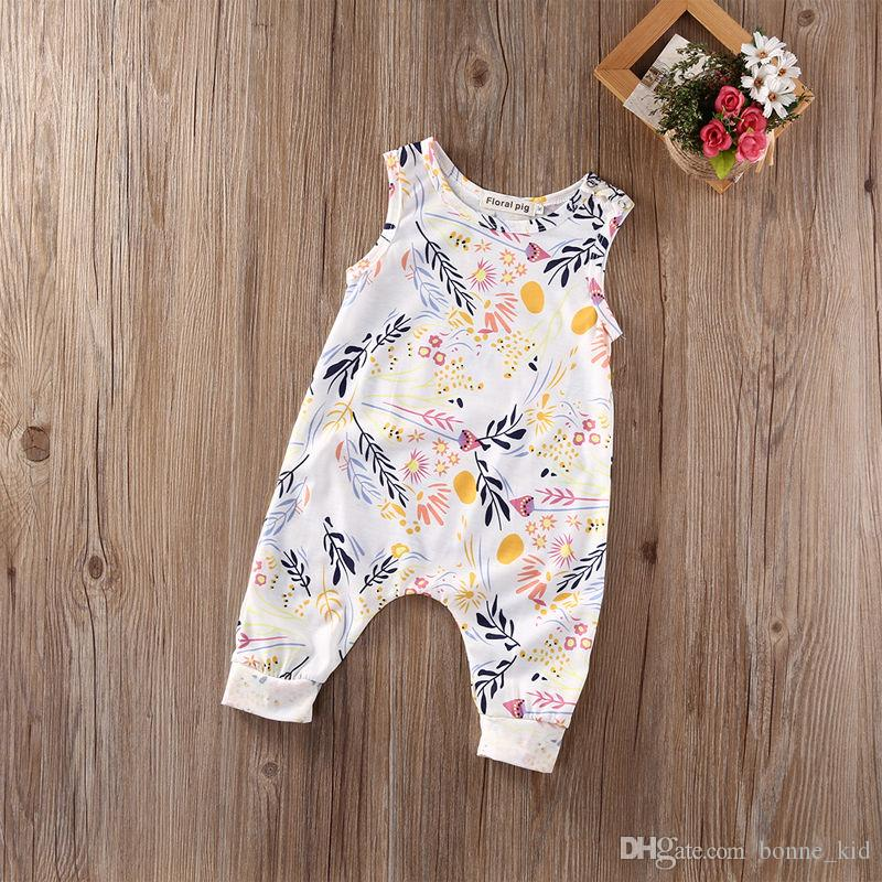 dae0c74d112 2019 Summer Toddler Baby Clothes Girl Floral Jumpsuit Sleevelss Trousers  Pant Cotton Flower Print Sunsuit Kids Outfit Bodysuit 0 24M Kid Clothing  From ...