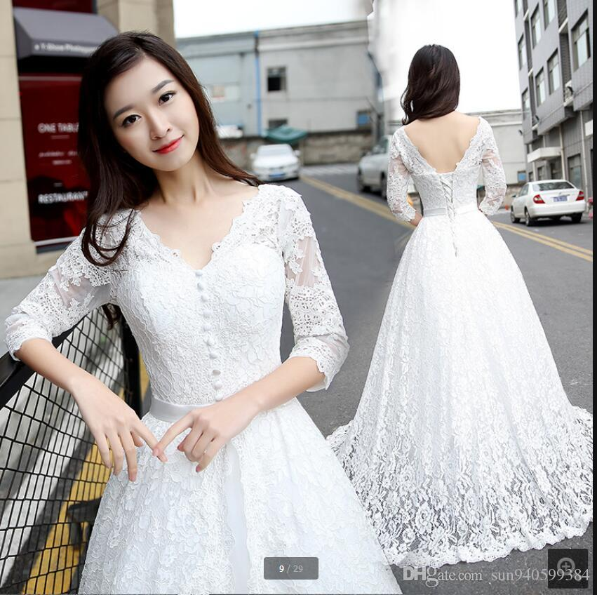 discount new designer 2017 white lace a line 34 sleeve wedding dress bride dress v neckline sheer back sexy corset stylish bride gowns hot sale a line