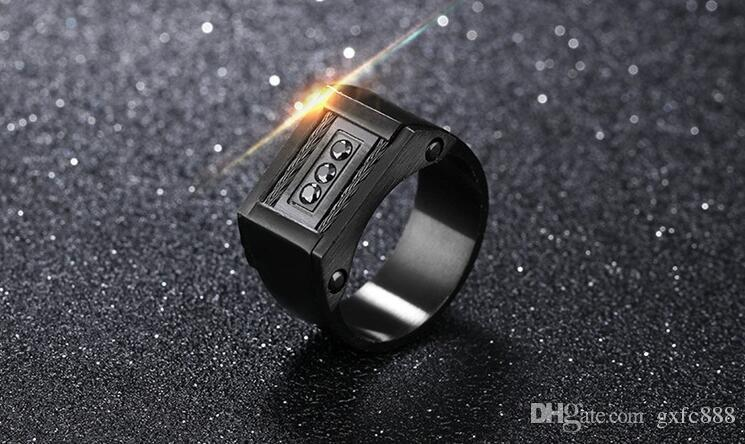 European and American jewelry personalized design classic titanium steel black men 's ring wire wide - width ring