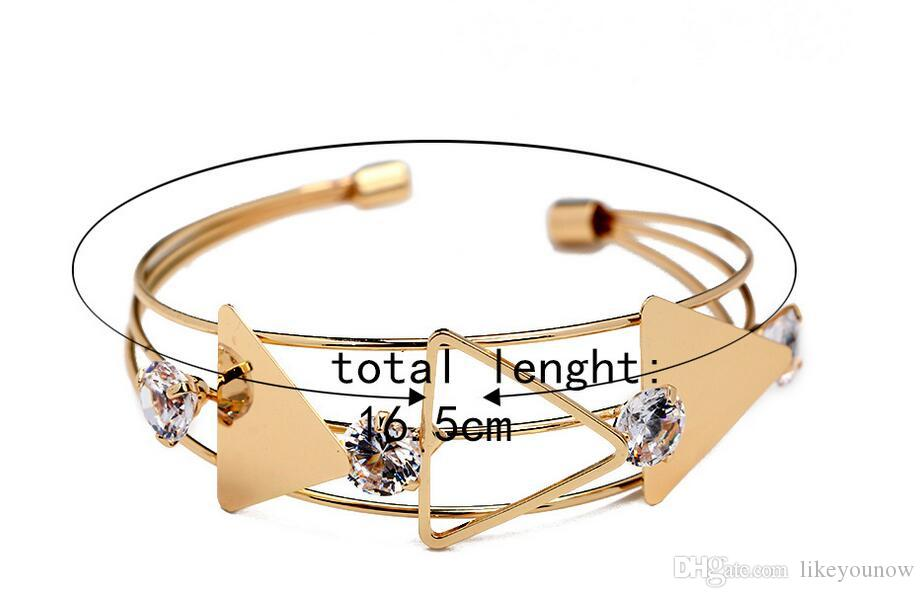 Foreign trade opening bracelet Geometric triangle hollow out diamond-encrusted bracelet speed sell tong wish selling alloy bracelet