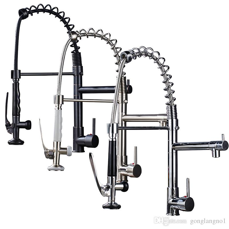 Kitchen Faucet Spring Kitchen Tap Faucets 360 Rotation Single Handle Mixer Tap Brass Pull Down Sprayer Basin Faucet