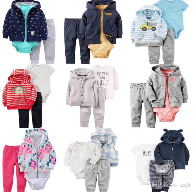 4caf6de57 Autumn Winter Baby Girls Outfits Sets Sets Romper Hoodie And Pants ...