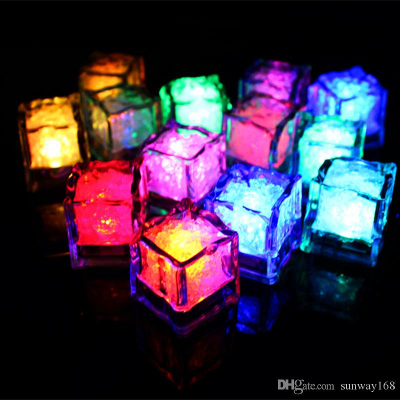 battery operated led flash ice cube lights put in water flicker glowing ice cube landscape for make a proposal bar wedding party decoration from