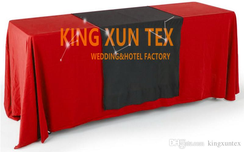 Wholesale Rectangular Polyester Table Cloth With Top Black Color Table Runner For Wedding And Event Decoration