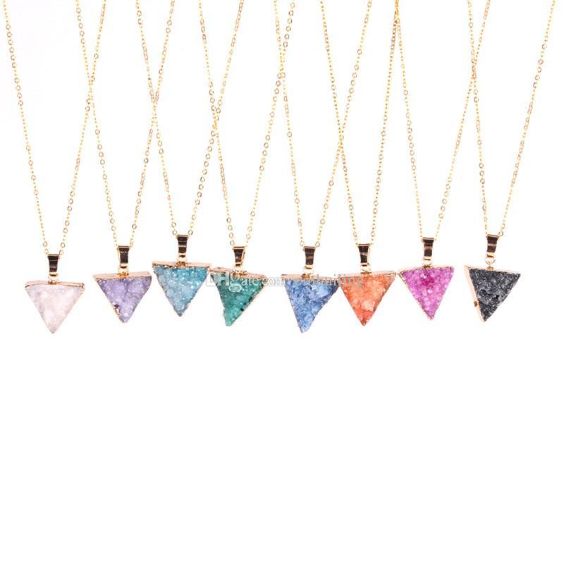 Druzy Necklace Super Adorable Little Mini Druzy Quartz Crystal Triangle Necklace Gold Edged Druzy Drusy Jewelry Bridesmaid Gift for Wedding