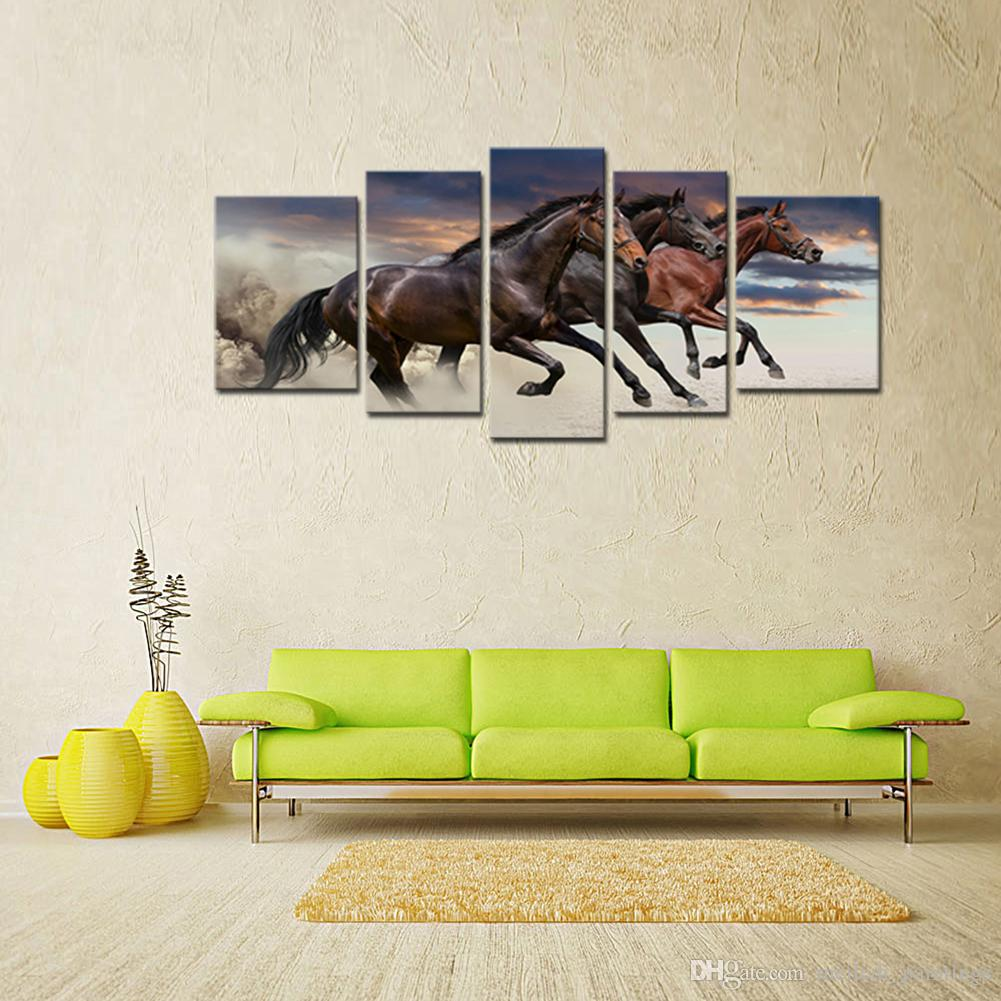 Canvas Paintings Three Fine Horses Running Animal Picture Prints with Wooden Framed For Living Room Home Decoration Ready to Hang